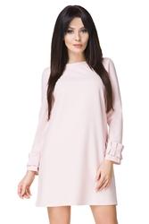 Jasnobeżowa sukienka mini z falbankami przy rękawach t196