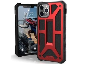 Etui uag urban armor gear monarch do iphone 11 pro crimson red leather + szkło alogy - czerwony