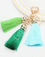 Zawieszka do torebki, kluczy, 3 frędzelki w kolorze zielonym, jasno zielonym i błękitnym   chwosty do torebki