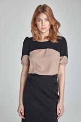 Beżowo-czarna elegancka bluzka z krótkim rękawem