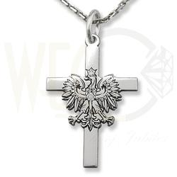 Zestaw łąńcuszek z krzyżykiem z orłem ze srebra kr-9-zes