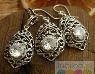 Srebrny komplet z kryształem arcona