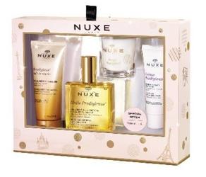 Nuxe zestaw instants prodigieux olejek pod prysznic 100ml+suchy olejek 100ml+ krem na dzień 40ml+ świeczka