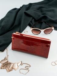 Portfel damski slim wallet czerwony milano design k1209 - czerwony