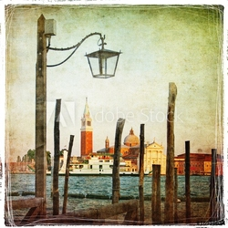 Tapeta ścienna venetian pictures - artwork in retro style