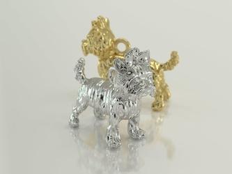 Wisiorek z żółtego złota z figurką psa rasy york