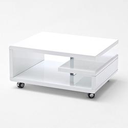 Nowoczesny biały stolik kawowy kira na kółkach  74x60 cm