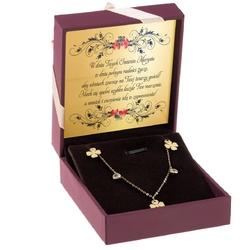 Złoty naszyjnik z koniczynkami oraz cyrkoniami pr. 333 prezent z dedykacją