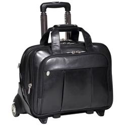 Skórzana torba podróżna na laptopa 17 z odpinanym wózkiem mcklein damen 80715 czarna - czarny