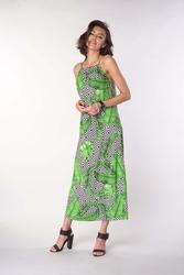 Długa letnia sukienka na wiązanych ramiączkach - liście