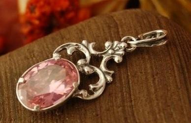 Campo - srebrny wisiorek z różowym kryształem