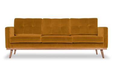Sofa fern z funkcją spania welurowa 3-osobowa  welur bawełna 100 musztardowy