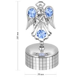 Pozytywka posrebrzany anioł swarovski prezent na chrzest grawer