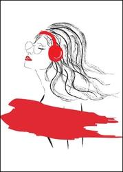 Kobieta w falach muzyki - plakat wymiar do wyboru: 40x50 cm