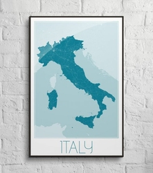 Italy, blue - mapa