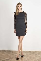 Czarna ołówkowa sukienka z transparentnymi detalami