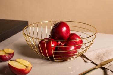 Koszyk metalowy  druciany na owoce złoty altom design pasy 28 cm