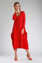 Czerwona dzianinowa sukienka midi zapinana na guziki