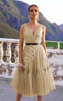Miodowa sukienka tiulowa midi, paris