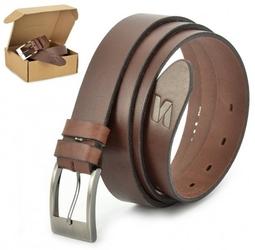 Pasek skórzany stylion w pudełku - brązowy st30-1 - szer.3cm