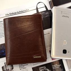 Krenig el dorado 11040 - eskluzywny brązowy skórzany portfel męski w pudełku - brązowy