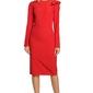 Elegancka sukienka ołówkowa z falbaną na ramieniu czerwona m326