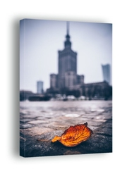 Warszawa pałac kultury i nauki jesienna impresja - obraz na płótnie wymiar do wyboru: 30x40 cm