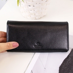 Skórzany portfel damski krenig classic 12015 czarny w pudełku - czarny