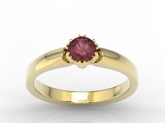 Pierścionek zaręczynowy z żółtego złota z rubinem bp-2130z - żółte  rubin