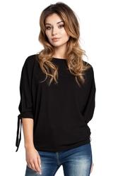 Luźna bluzka z rozciętymi rękawami czarna b036