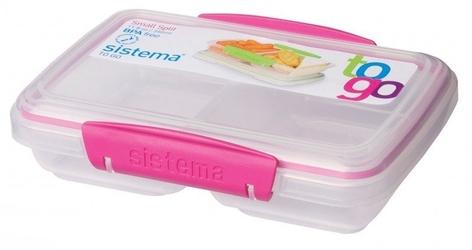 Dzielony pojemnik na żywność sistema split to go 350 ml, różowy - różowy