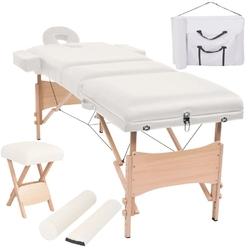 Vidaxl składany, trzyczęściowy stół do masażu ze stołkiem, biały