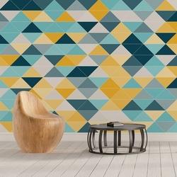 Niebiesko-żółte trójkąty - tapeta designerska , rodzaj - tapeta flizelinowa