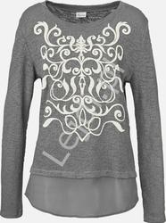 Szara bawełniana bluzka aniston z szyfonowym dołem ala koszula