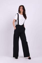 Czarne spodnie z prostymi nogawkami na szelkach