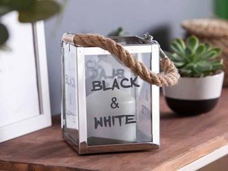 Latarenka  latarnia  lampion ozdobny szklany  metalowy altom design black n white 11x15 cm