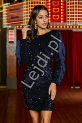 Fenomenalna sukienka cekinowa z falbaną na rękawie 962