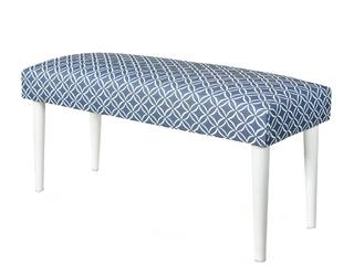 Ławka tapicerowana Flexo niebieskabiała geometryczna