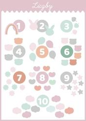 Słodkie liczby różowe - plakat wymiar do wyboru: 21x29,7 cm