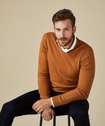 Pullover v-neck musztardowy s