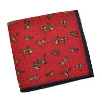 Czerwona wełniana poszetka ascot w ptaki i psy
