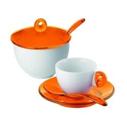 Guzzini - komplet 2 filiżanek do espresso i cukiernica - art  cafe - pomarańczowe - pomarańczowe