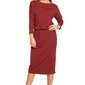 Luźna dłuższa sukienka z długim rękawem bordowa b014