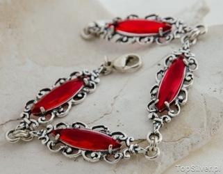 Sanvera - srebrna bransoletka z rubinami