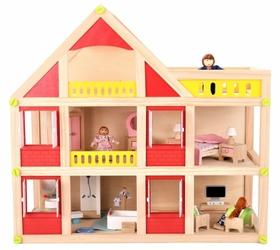 Drewniany domek dla lalek z meblami + 3 lalki gratis