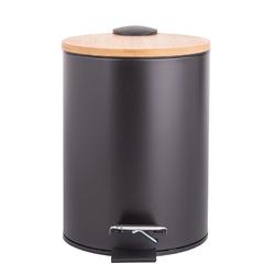 Kosz na śmieci do łazienki z pedałem i bambusową pokrywą czarny altom design