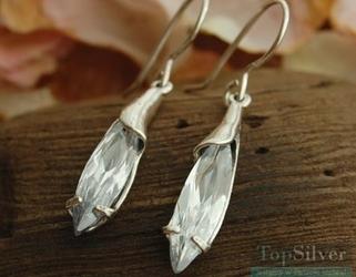 Clover - srebrne kolczyki z kryształem