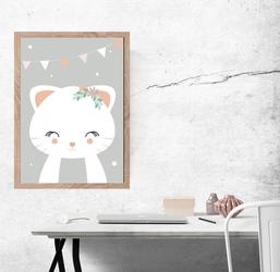 Kotek szare tło - plakat wymiar do wyboru: 21x29,7 cm
