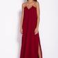 Bordowa elegancka wieczorowa sukienka maxi na łańcuszku