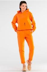 Bawełniane spodnie z podwiniętą nogawką - pomarańczowe
